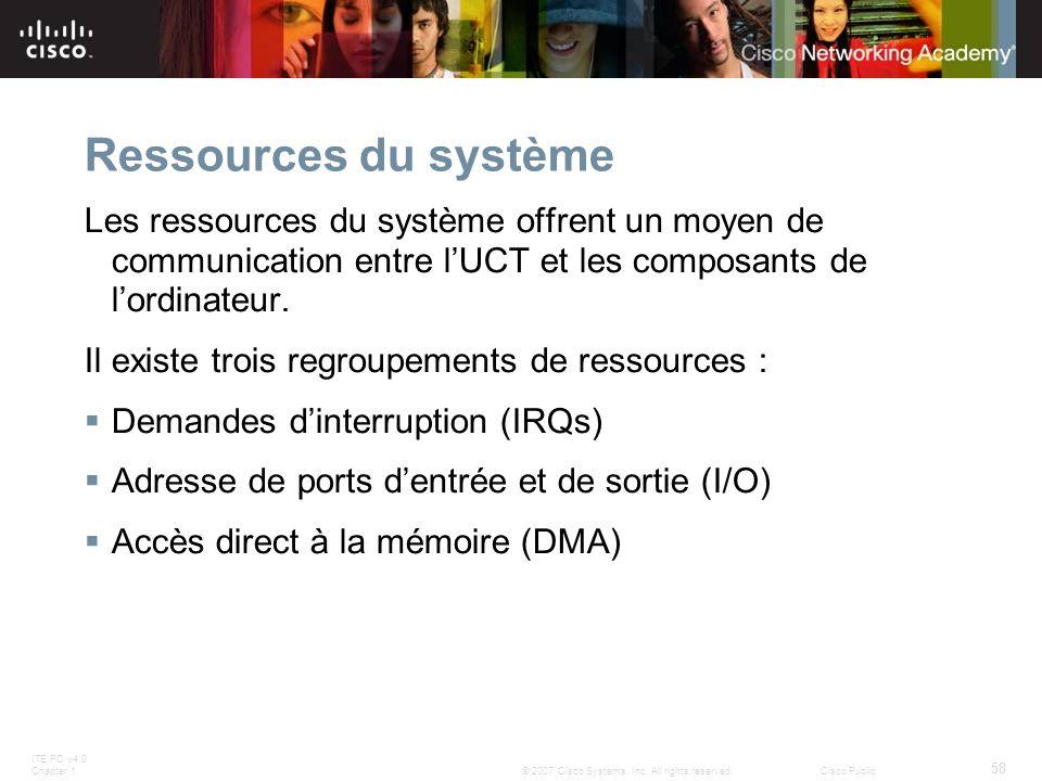 Ressources du système Les ressources du système offrent un moyen de communication entre l'UCT et les composants de l'ordinateur.