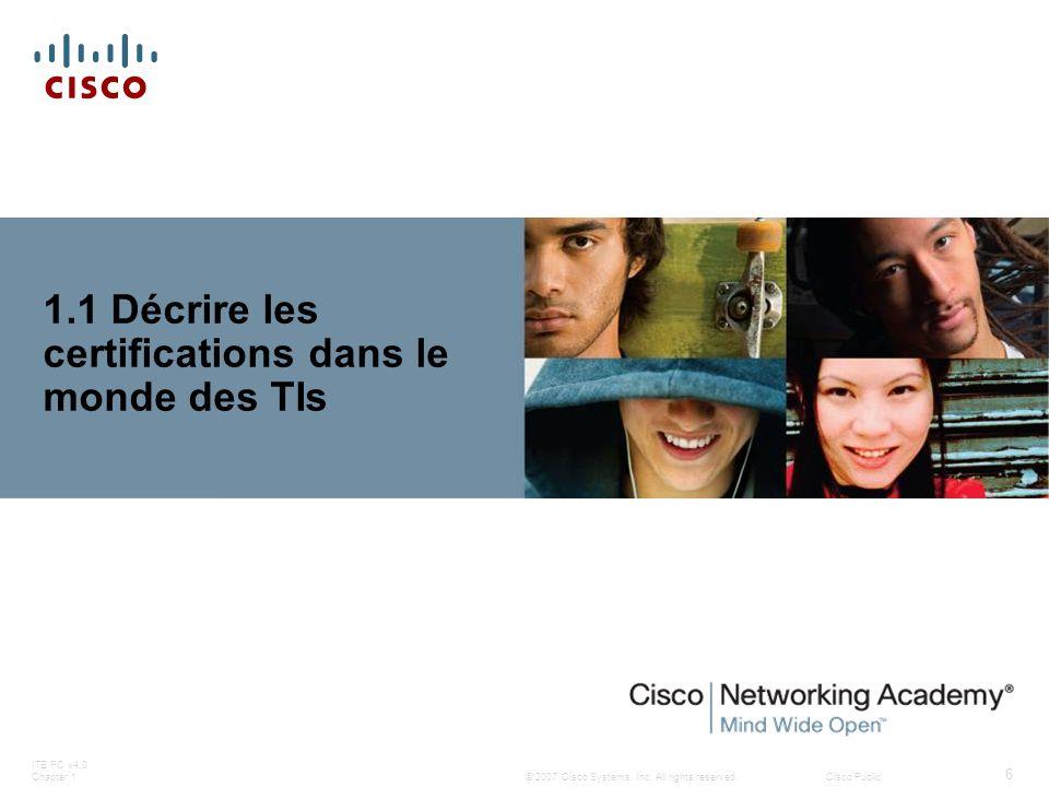 1.1 Décrire les certifications dans le monde des TIs