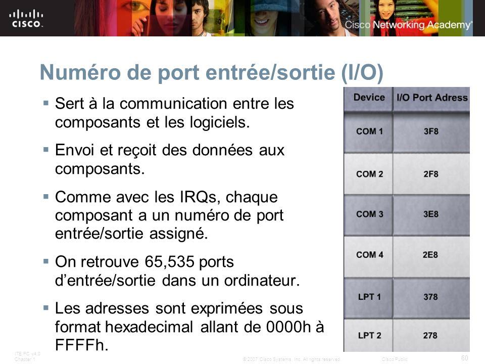 Numéro de port entrée/sortie (I/O)