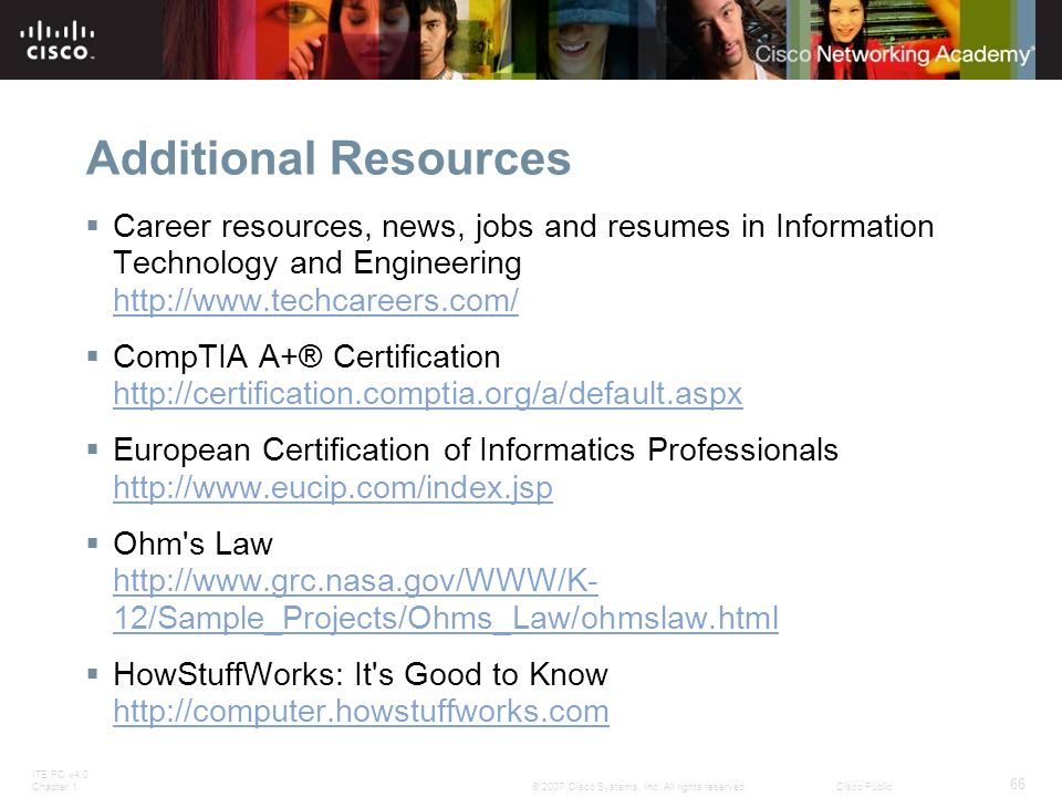 Additional Resources Career resources, news, jobs and resumes in Information Technology and Engineering http://www.techcareers.com/