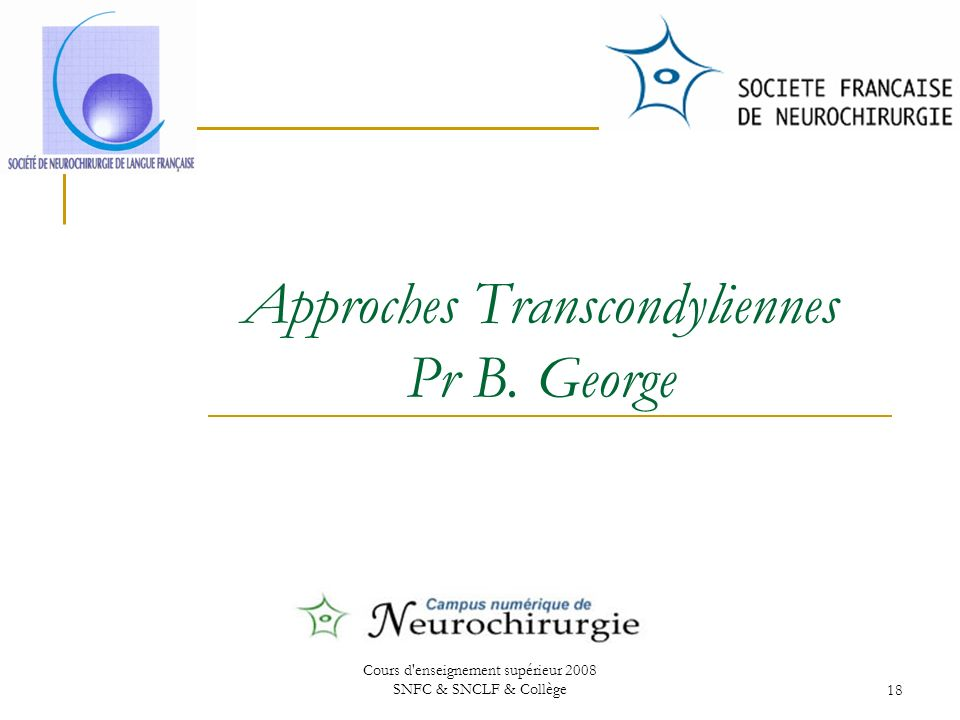 Approches Transcondyliennes Pr B. George