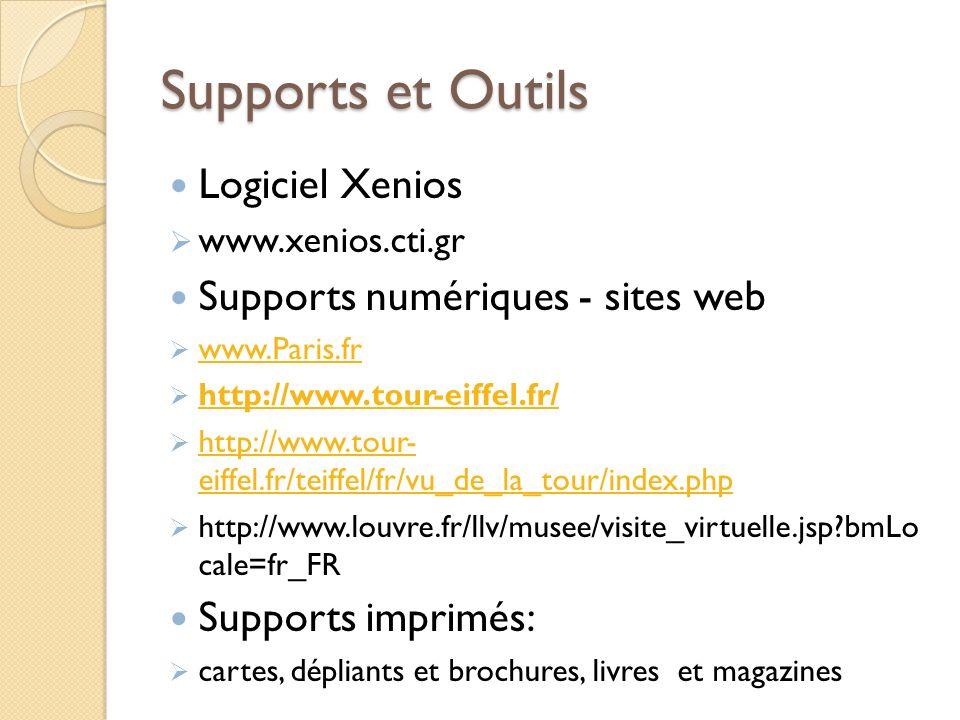 Supports et Outils Logiciel Xenios Supports numériques - sites web