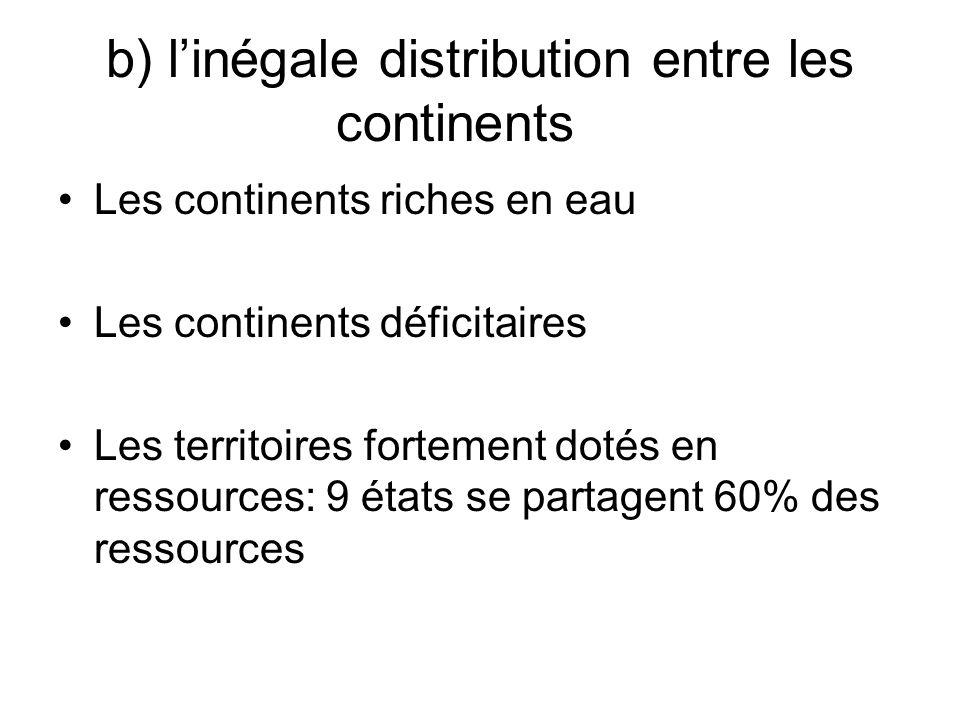 b) l'inégale distribution entre les continents