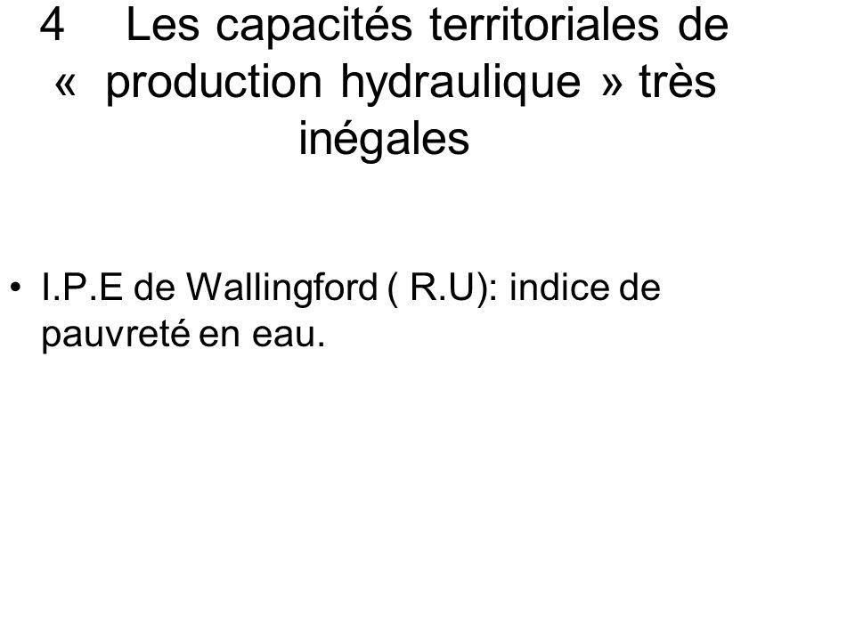 4 Les capacités territoriales de « production hydraulique » très inégales