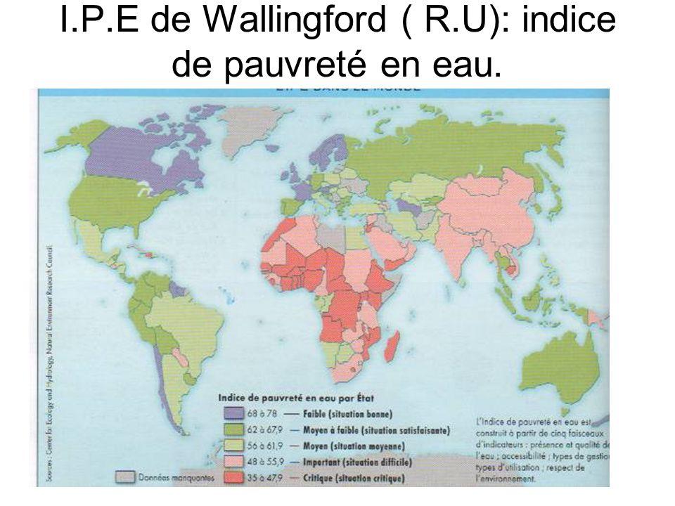 I.P.E de Wallingford ( R.U): indice de pauvreté en eau.
