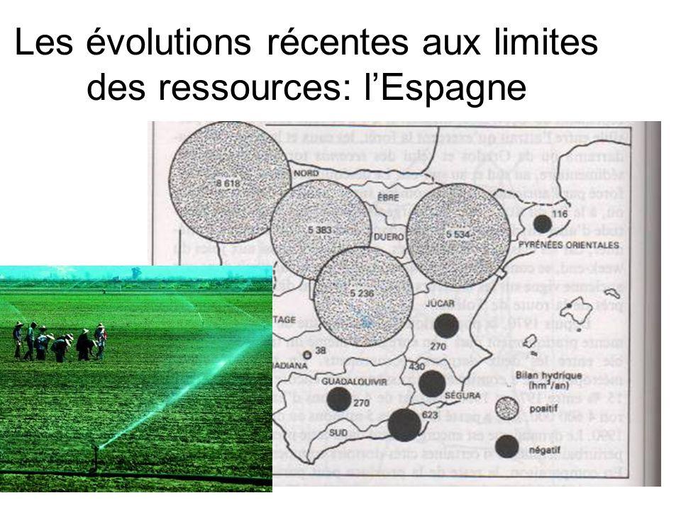 Les évolutions récentes aux limites des ressources: l'Espagne