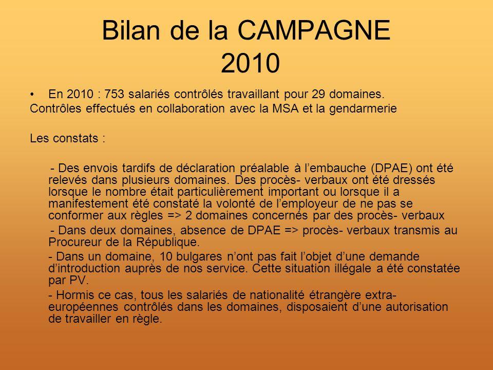 Bilan de la CAMPAGNE 2010 En 2010 : 753 salariés contrôlés travaillant pour 29 domaines.