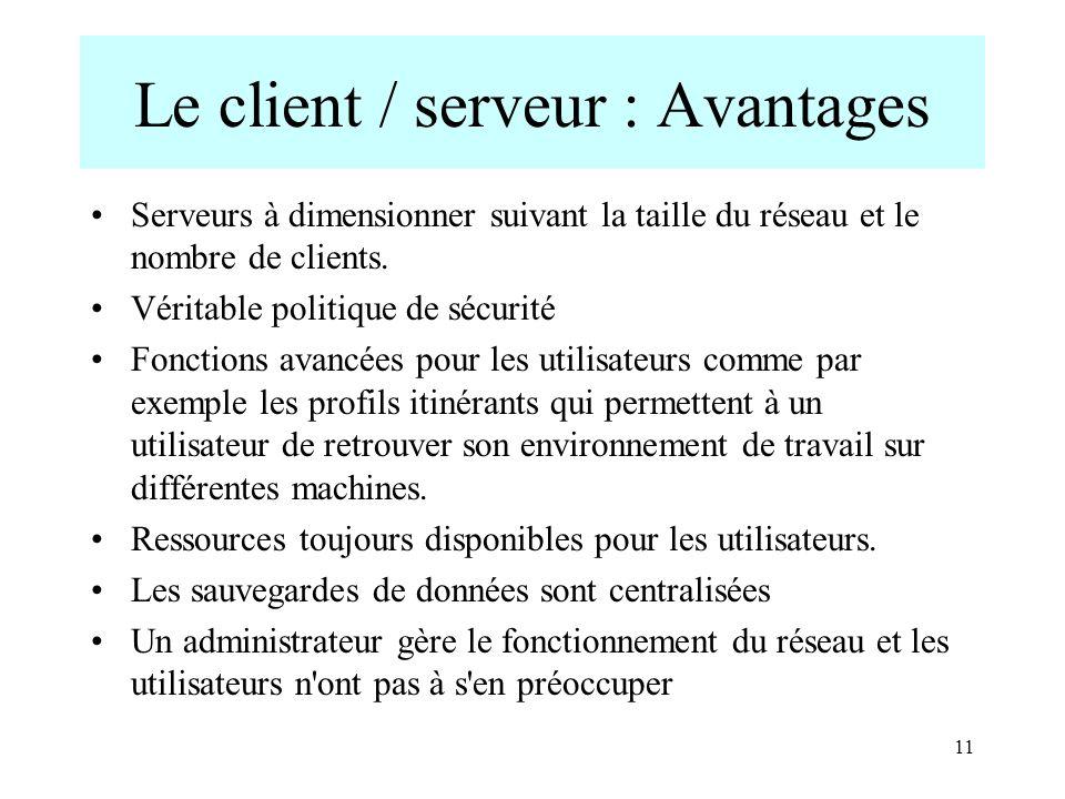 Le client / serveur : Avantages