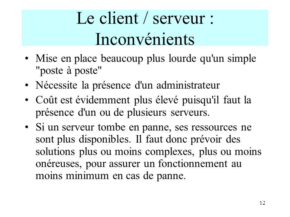 Le client / serveur : Inconvénients