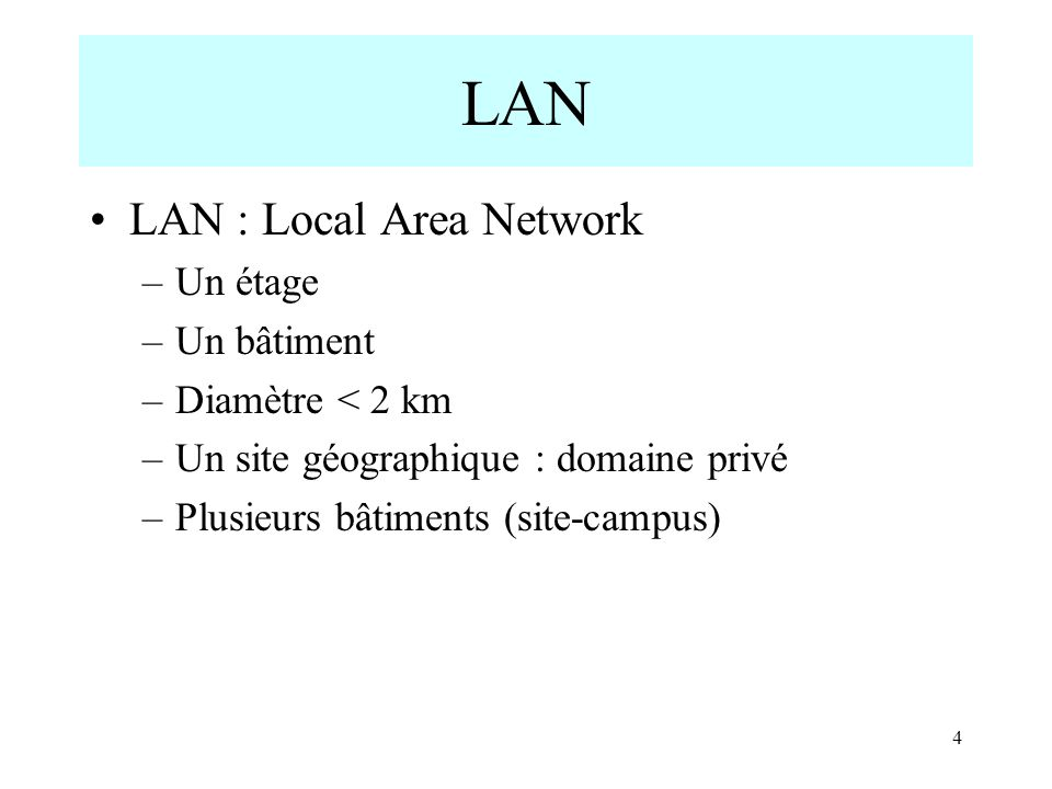 LAN LAN : Local Area Network Un étage Un bâtiment Diamètre < 2 km