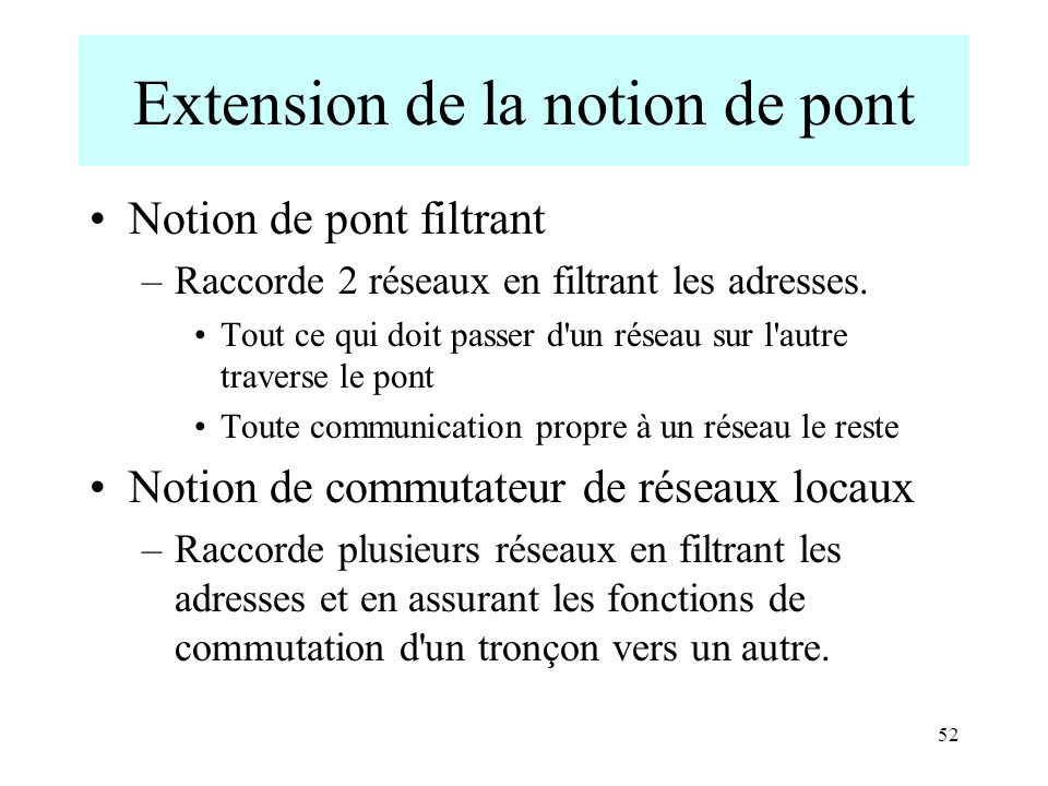 Extension de la notion de pont