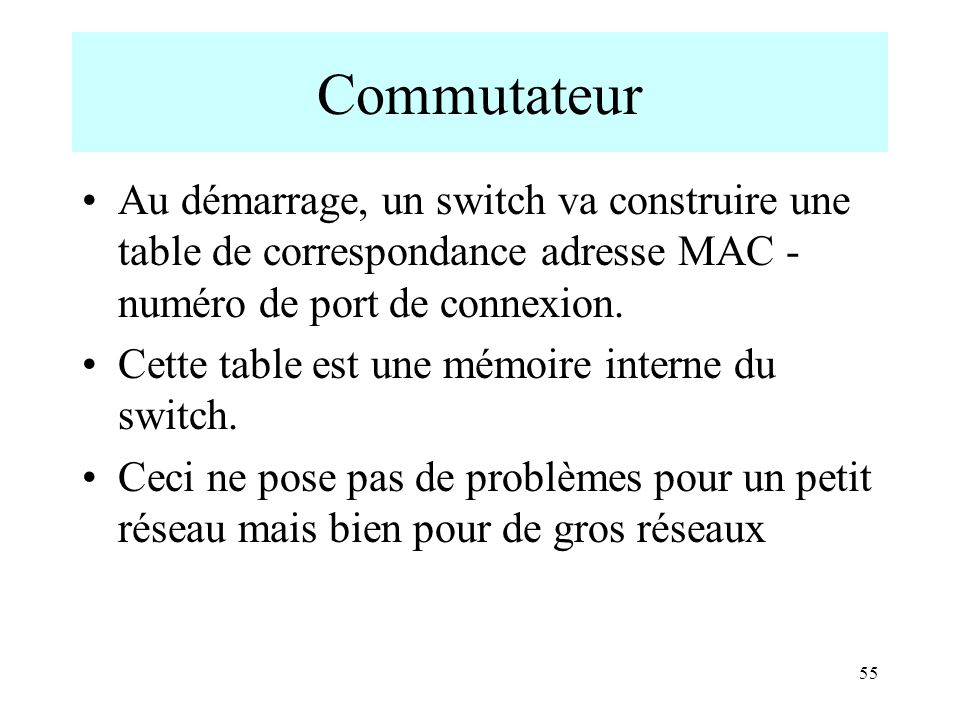 Commutateur Au démarrage, un switch va construire une table de correspondance adresse MAC - numéro de port de connexion.