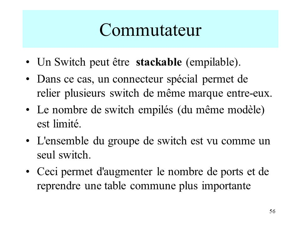 Commutateur Un Switch peut être stackable (empilable).