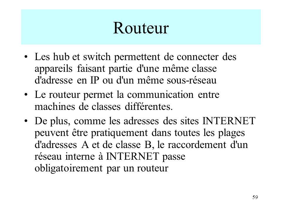 Routeur Les hub et switch permettent de connecter des appareils faisant partie d une même classe d adresse en IP ou d un même sous-réseau.