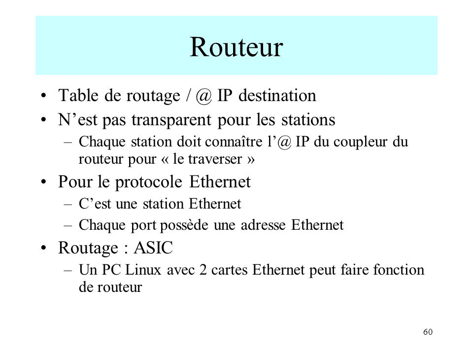 Routeur Table de routage / @ IP destination