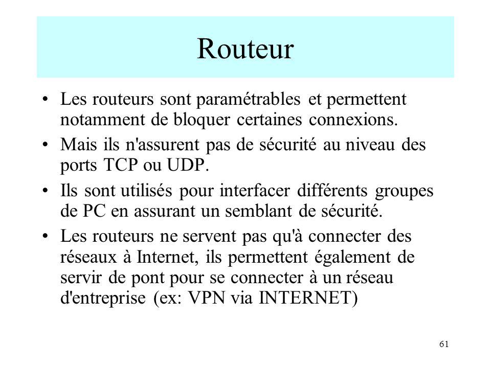 Routeur Les routeurs sont paramétrables et permettent notamment de bloquer certaines connexions.