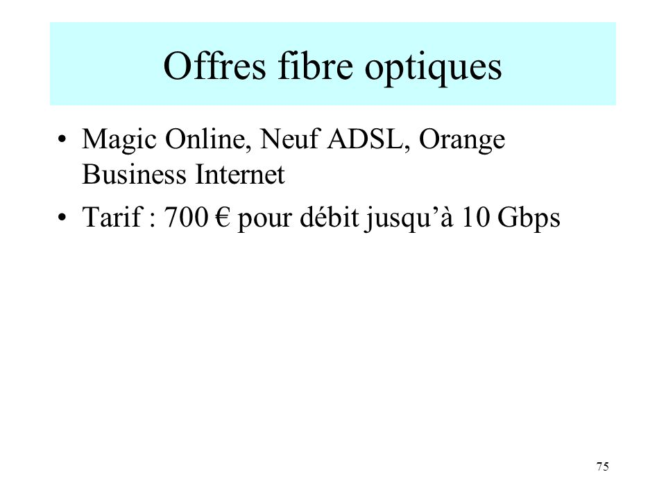 Offres fibre optiques Magic Online, Neuf ADSL, Orange Business Internet.