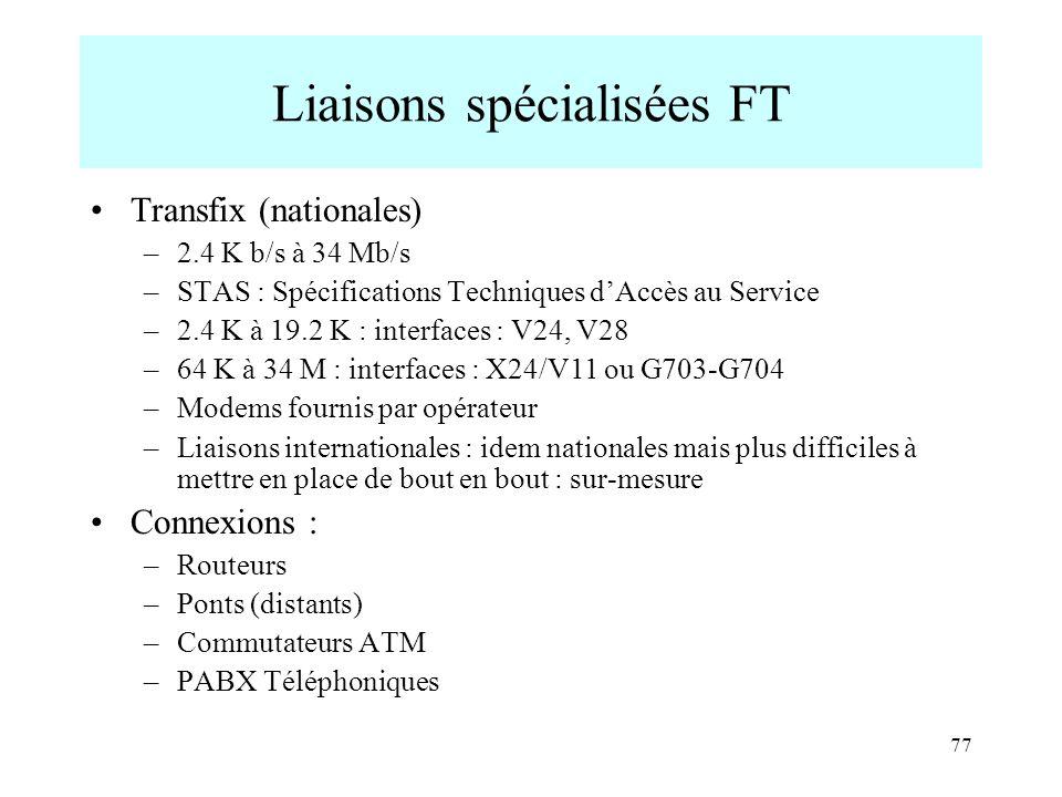 Liaisons spécialisées FT