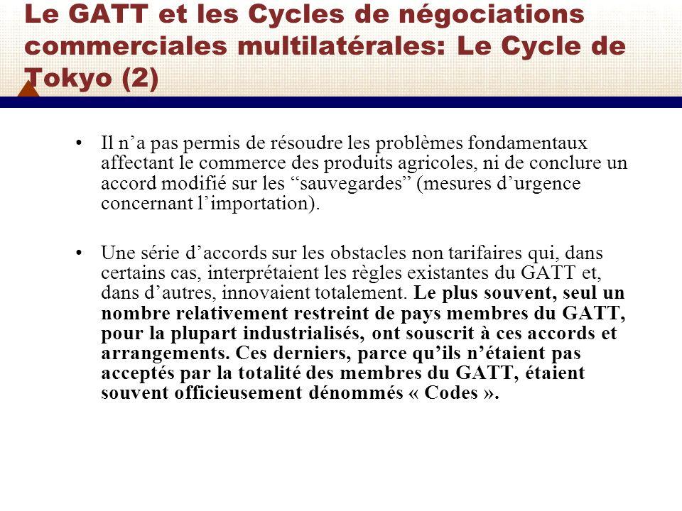 Le GATT et les Cycles de négociations commerciales multilatérales: Le Cycle de Tokyo (2)