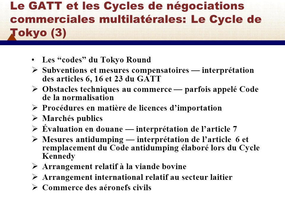 Le GATT et les Cycles de négociations commerciales multilatérales: Le Cycle de Tokyo (3)