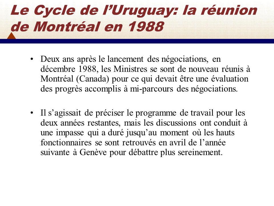 Le Cycle de l'Uruguay: la réunion de Montréal en 1988