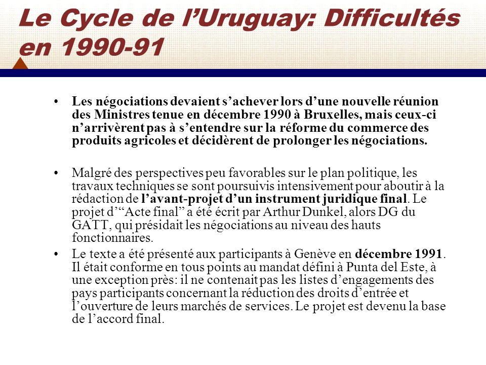 Le Cycle de l'Uruguay: Difficultés en 1990-91
