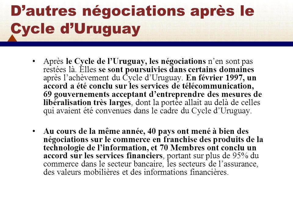 D'autres négociations après le Cycle d'Uruguay