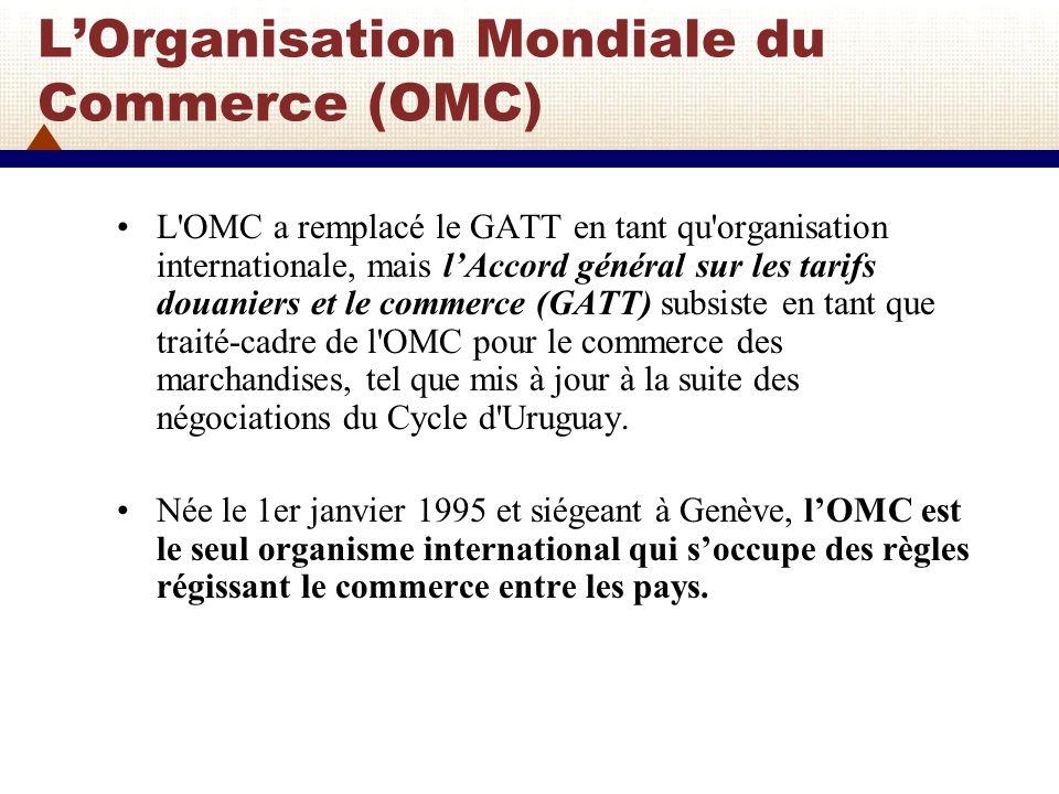 L'Organisation Mondiale du Commerce (OMC)