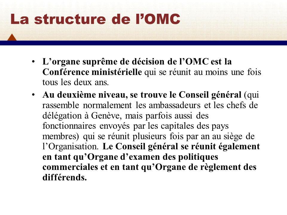 La structure de l'OMC L'organe suprême de décision de l'OMC est la Conférence ministérielle qui se réunit au moins une fois tous les deux ans.