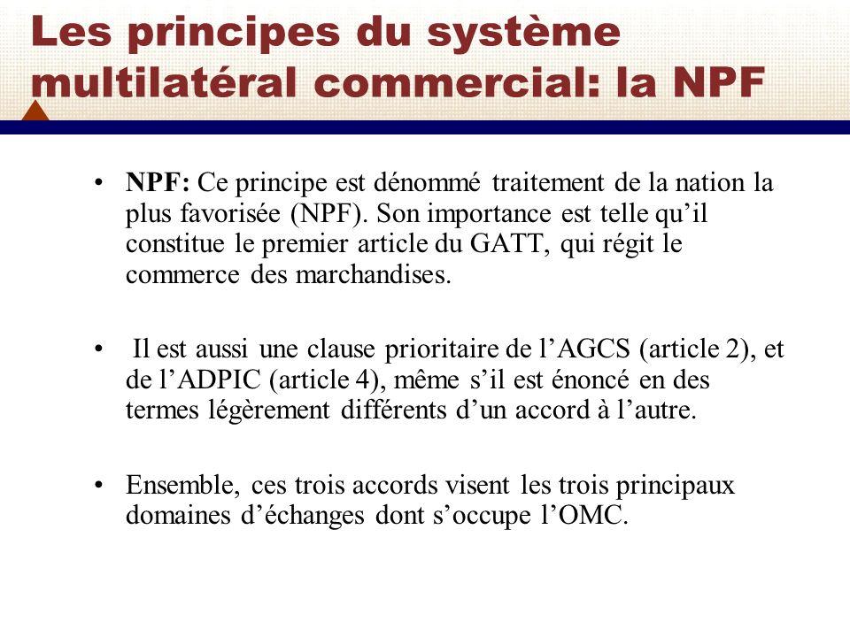 Les principes du système multilatéral commercial: la NPF