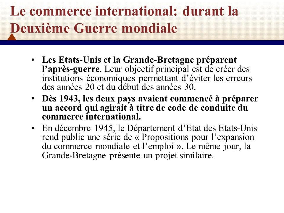 Le commerce international: durant la Deuxième Guerre mondiale