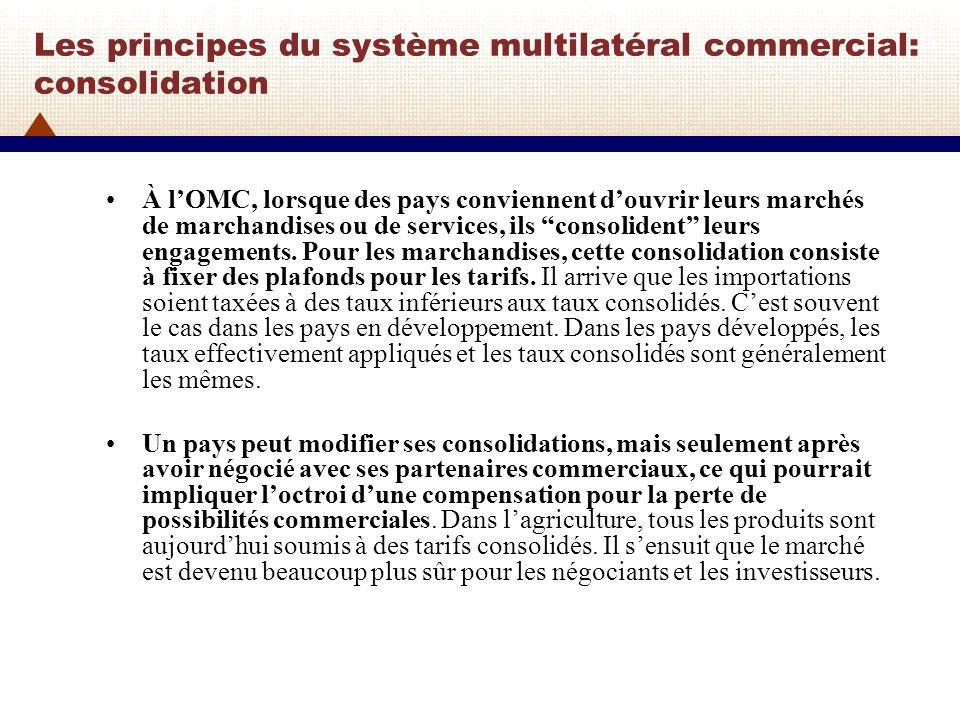 Les principes du système multilatéral commercial: consolidation