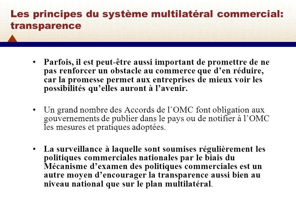 Les principes du système multilatéral commercial: transparence