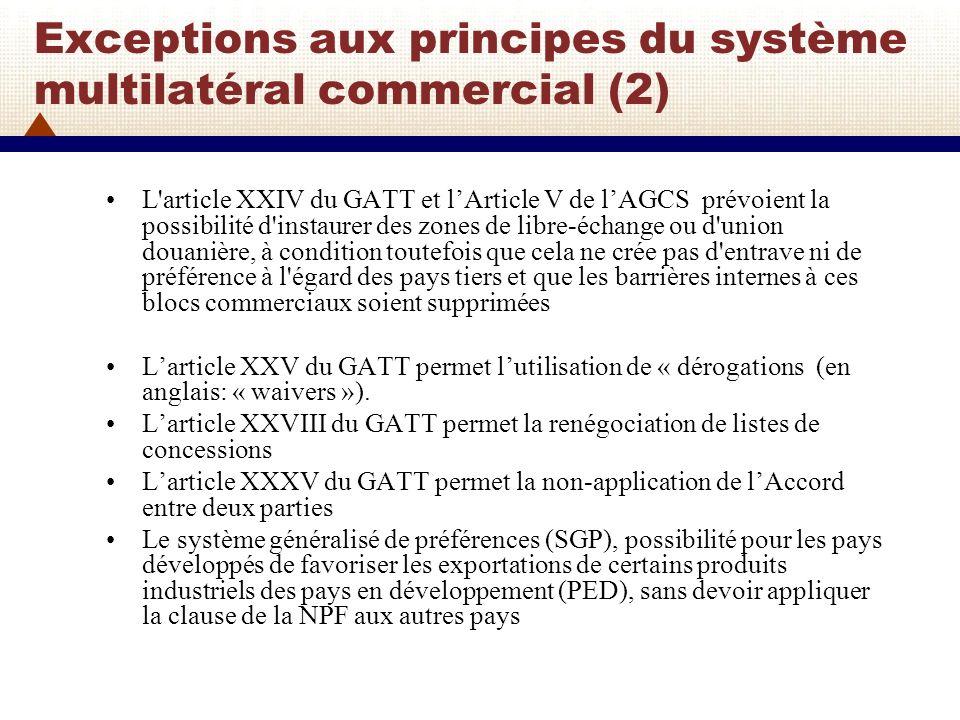 Exceptions aux principes du système multilatéral commercial (2)
