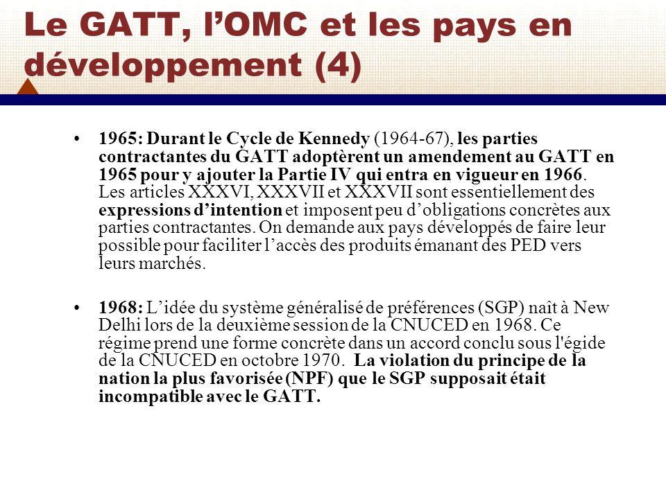 Le GATT, l'OMC et les pays en développement (4)