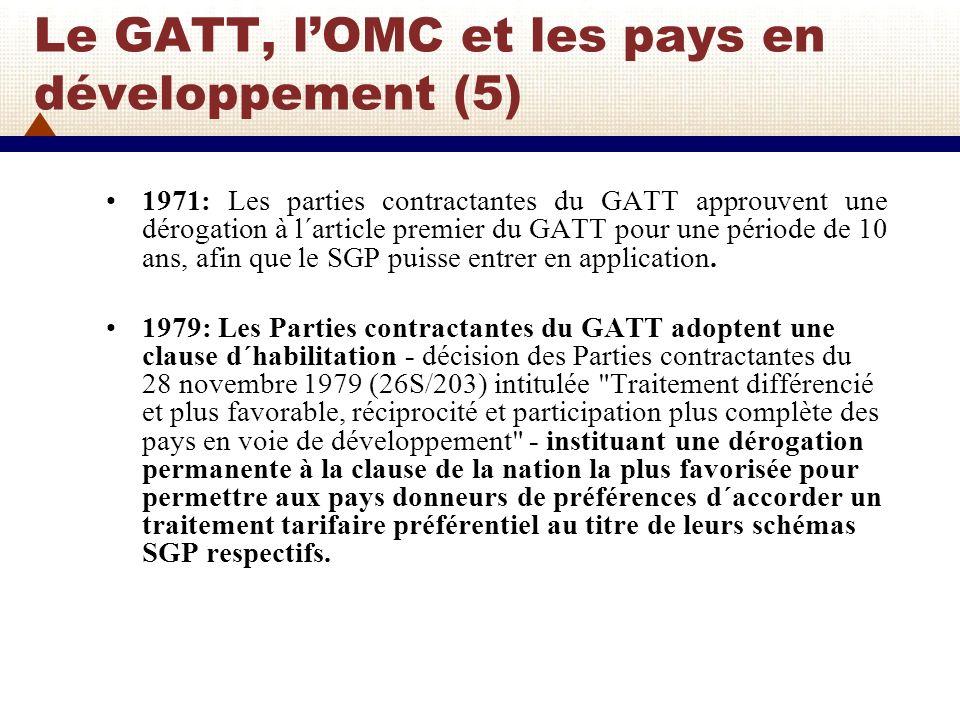 Le GATT, l'OMC et les pays en développement (5)