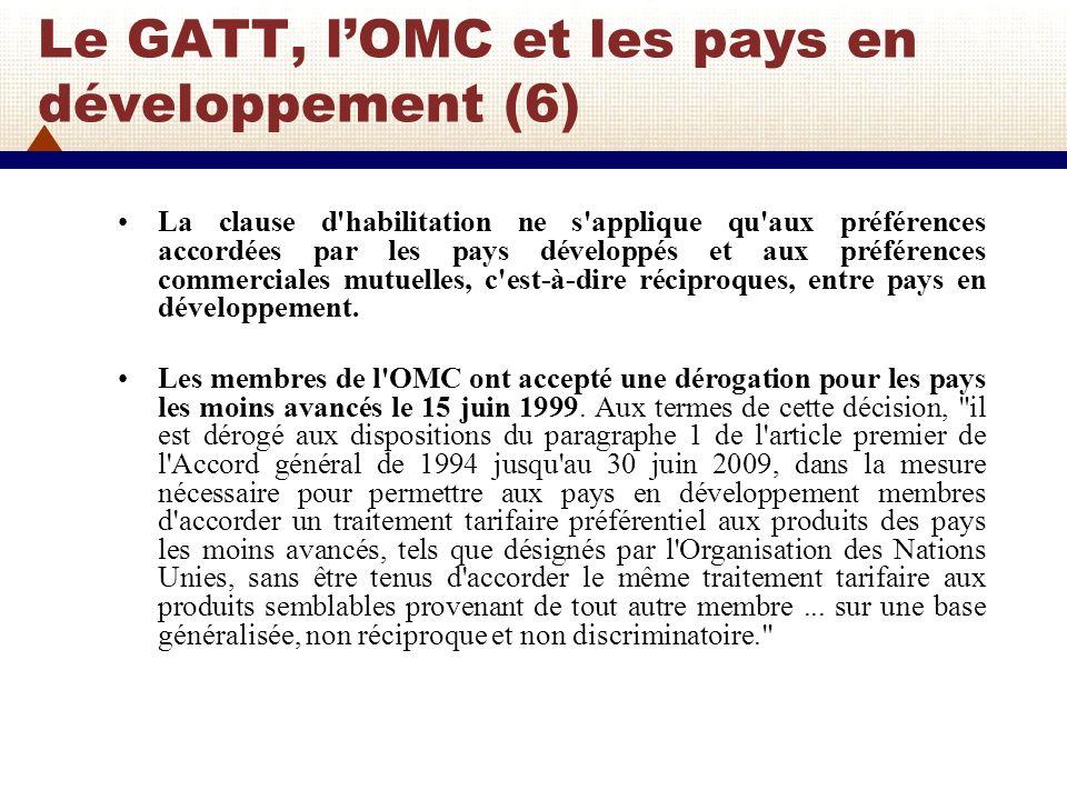 Le GATT, l'OMC et les pays en développement (6)