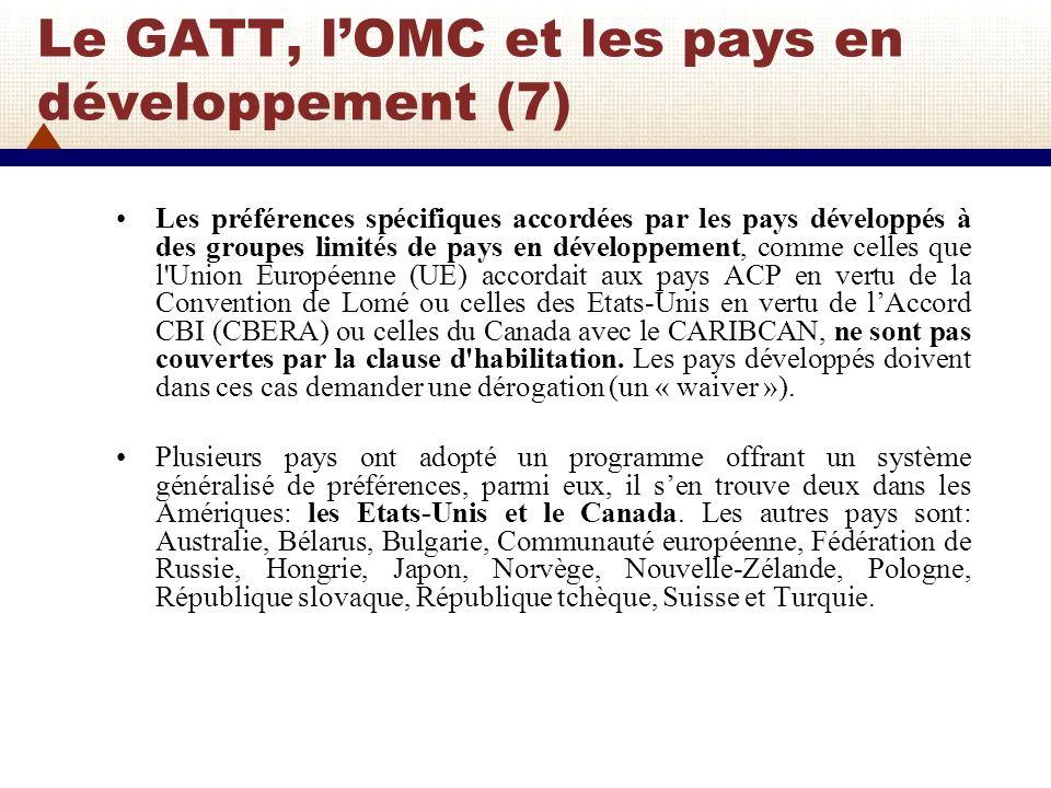 Le GATT, l'OMC et les pays en développement (7)