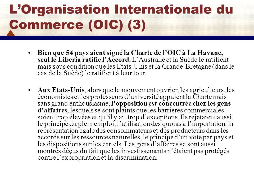 L'Organisation Internationale du Commerce (OIC) (3)