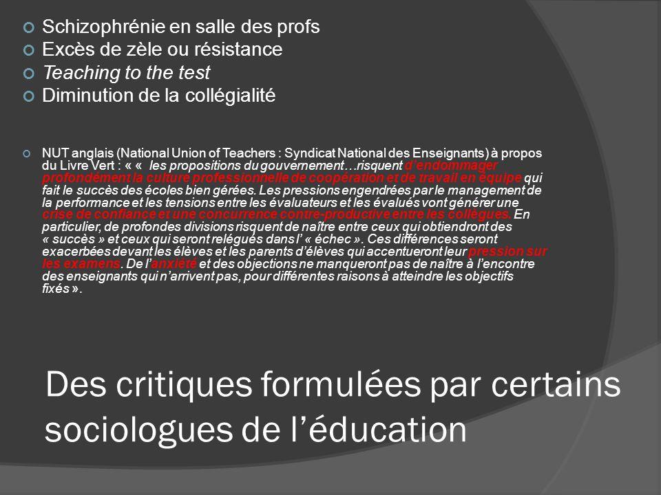 Des critiques formulées par certains sociologues de l'éducation