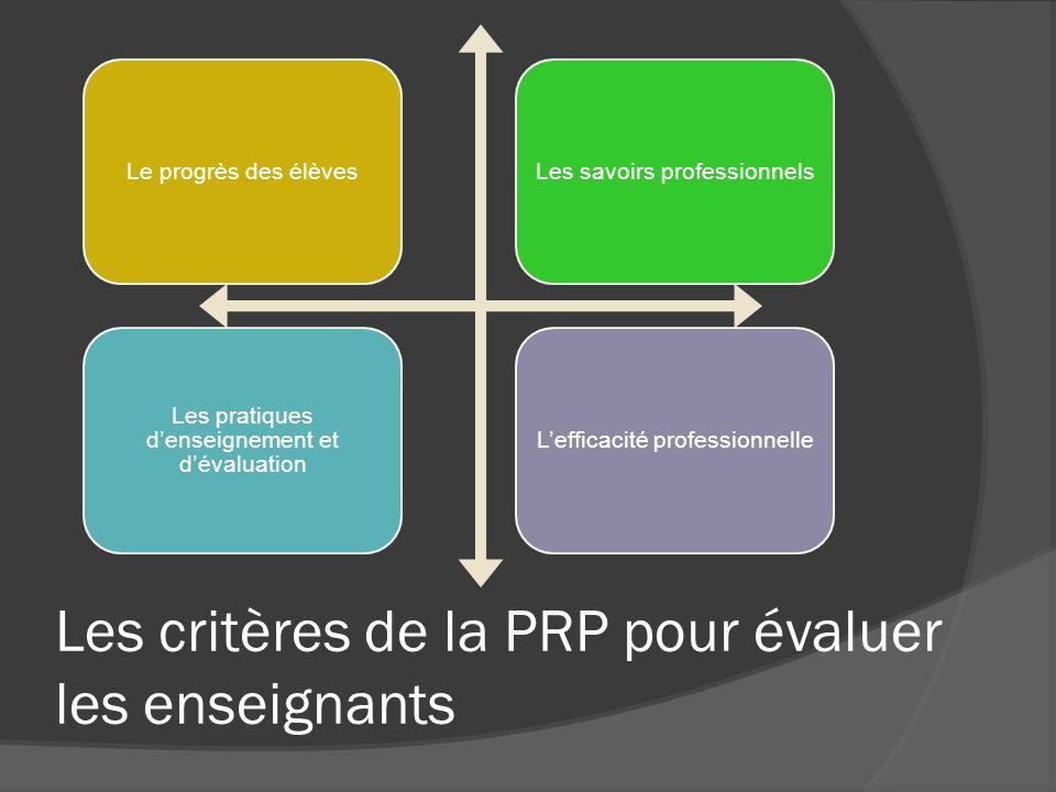 Les critères de la PRP pour évaluer les enseignants