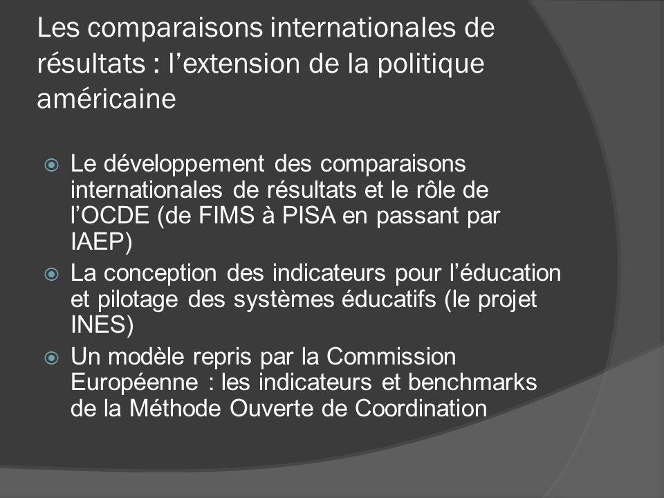 Les comparaisons internationales de résultats : l'extension de la politique américaine