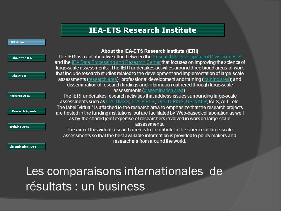 Les comparaisons internationales de résultats : un business