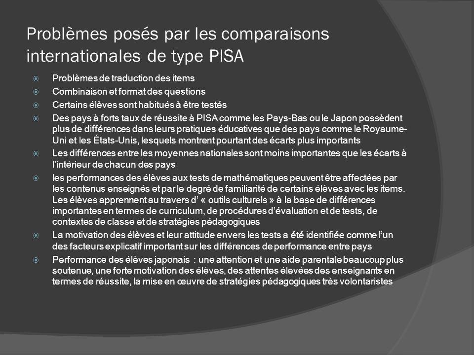 Problèmes posés par les comparaisons internationales de type PISA