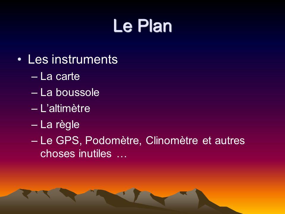 Le Plan Les instruments La carte La boussole L'altimètre La règle