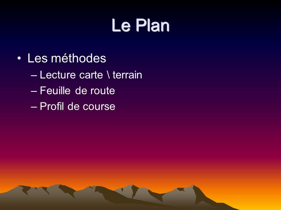Le Plan Les méthodes Lecture carte \ terrain Feuille de route