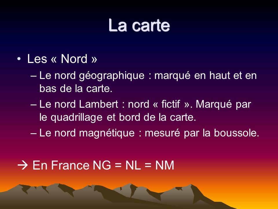 La carte Les « Nord »  En France NG = NL = NM