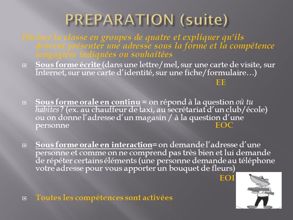 PREPARATION (suite)