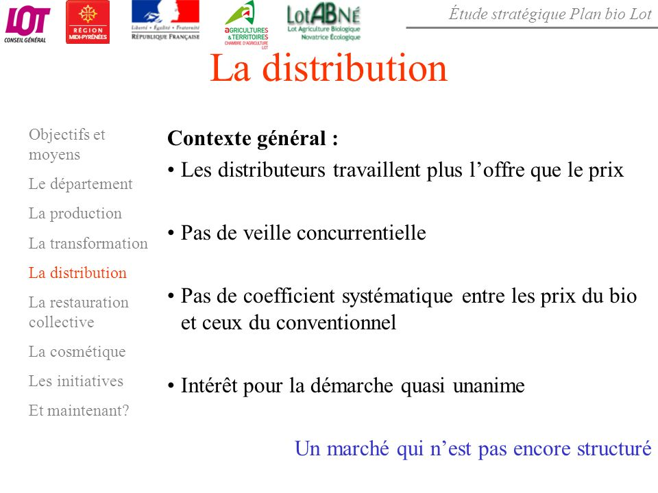 La distribution Contexte général :