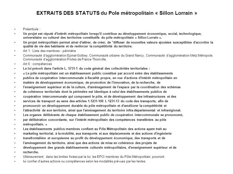 EXTRAITS DES STATUTS du Pole métropolitain « Sillon Lorrain »